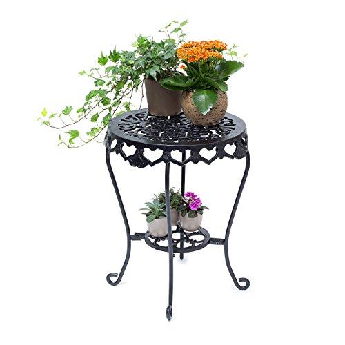 Relaxdays Blumenhocker rund Größe L aus Gusseisen HBT ca. 51 x 40 x 40 cm Blumenständer mit 2 Ablagen Beistelltisch für Blumen und Dekoration in Haus und Garten Hocker für Pflanzen, schwarz