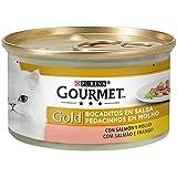 PURINA GOURMET GOLD Umido Gatto Dadini in Salsa con Salmone e Pollo - 24 lattine da 85g ciascuna (confezione da 24x85g)