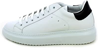 L'ANGOLO CALZATURE - Sneaker in Pelle Bianca con Posteriore Nero