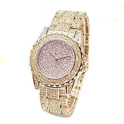 OUMOSI Luxury Women Crystal Quartz Watch Vintage Rhinestones Decoration Wristwatch