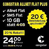 congstar Allnet Flat Plus, Sim, Micro-Sim und Nano-Sim, monatlich Kündbar (24,00 Euro/Monat, 10 GB Datenflat mit Max. 25 Mbit/s, Allnet Flat Uns SMS Flat) in Bester D-Netz-Qualität