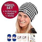 Neu myboshi Häkel-Set für eine Long-Beanie Niseko: Mit 4x 50g myboshi Wolle No.1 (30% Merino, 70% Polyacryl) + Häkel-Anleitung + Häkelnadel 6,0 + selfmade Label in den Farben (saphir weiß, mit Häkelnadel)