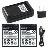 ebestStar - Pour Samsung Galaxy SII S2 i9100 - Pack x2 batteries Li-ion 3,7v - 1800 mA + 1 Chargeur / Socle de chargement pour batterie supplémentaire / externe (fonction 2 en 1 : charge téléphone et batteries)