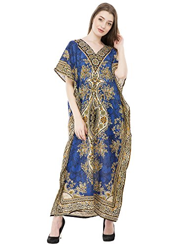 SKAVIJ Kaftan Kleider für Frauen V-Ausschnitt Kaftan Plus Size Lange Nachthemd Vertuschen (Blau) (Tunika Cinch-taille)