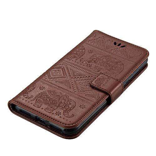 Für Huawei P8 Lite 2017 Premium Leder Schutzhülle, weiche PU / TPU geprägte Textur Horizontale Flip Stand Case Cover mit Lanyard & Card Cash Holder ( Color : Pink ) Brown