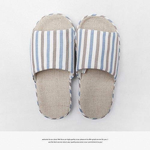 pantofole coppie semplice biancheria Il striato Camera blu4 uomini Il Seasons pantofole Four biancheria femmina estivo pantofole cotone spesso DogHaccd soggiorno di dqSw7d