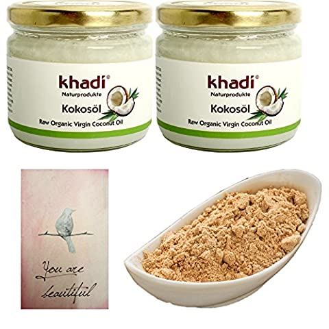 Set Deux Khadi - KHADI Huile de Coco BIO + Shampooing Végétal Shikakaï en Poudre 250 gr Yumi Bio