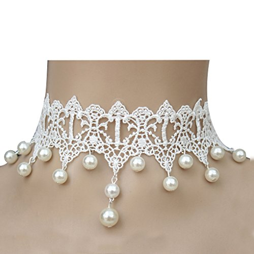 Lufa gothic style wedding party lace pearl chain pendant necklace