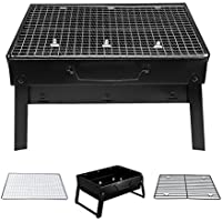 Denny International Portable Charcoal Barbecue Desk Stainless Steel Folding BBQ Grill Perfect For Travel Camping Outdoors