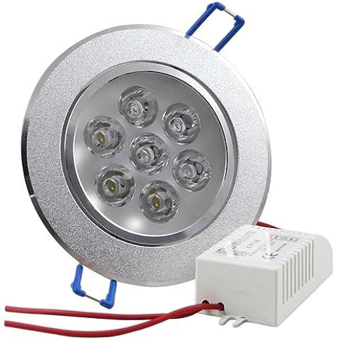 MENGS® 7W LED 7x 1W SMD LEDs a soffitto da incasso faretto da incasso lampada(Bianco freddo 6000K, 60 angolo, 520lm, AC 85-265V, 89 x 64mm)