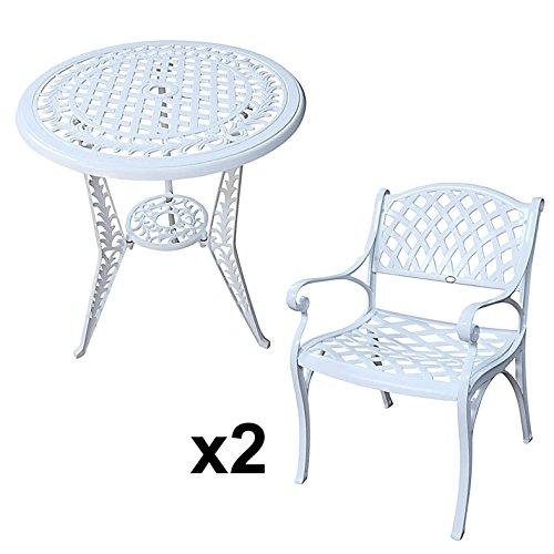 Lazy Susan - IVY Bistrotisch mit 2 Stühlen - Rundes Gartenmöbel Set aus Metall, Weiß (KATE Stühle)