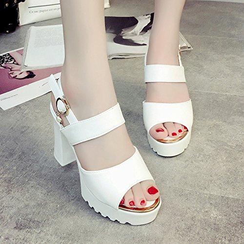 RUGAI-UE Moda Donna Sandali estivi bocca pesce tacchi alti scarpe spessa White