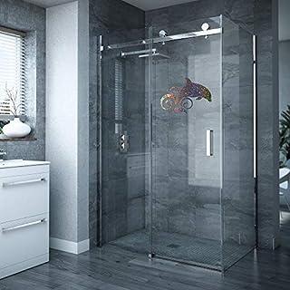 Dolphin Shower Screen Sticker Bathroom Decal (Sparkle Silver)