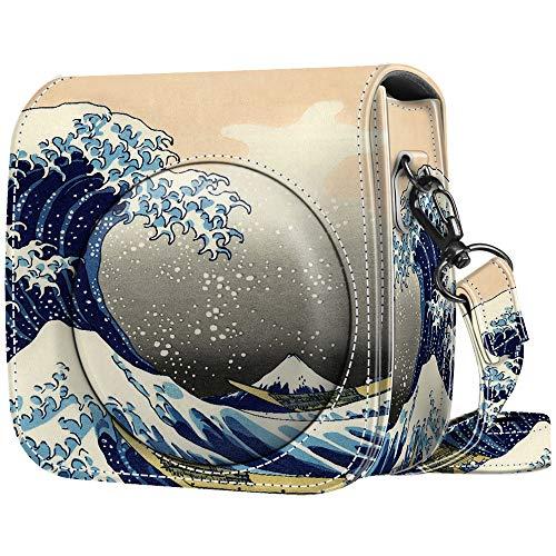 Fintie Tasche für Fujifilm Instax Mini 8 / Mini 9 Sofortbildkamera - Premium Kunstleder Schutzhülle Reise Kameratasche Hülle Abdeckung mit abnehmbaren Riemen, Die Wellen