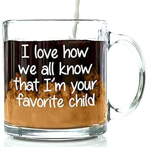 I'm Your Favorite Child Funny Glass Coffee Mug - Birthday Gifts For Mum or Dad From Kids, Son or Daughter - Novelty Christmas Present Idea For Parents - Best Unique Tea Cup For Men, Women, Him or