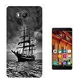 003389 - Sailing ship ocean open sea vintage black and