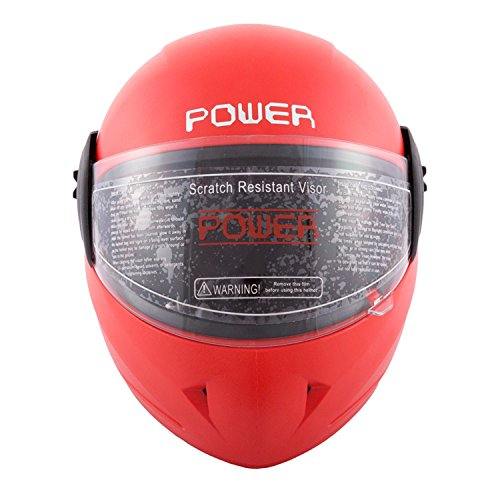Autofy Power Full Face Helmet With Scratch Resistant Visor (Matte Red, M)