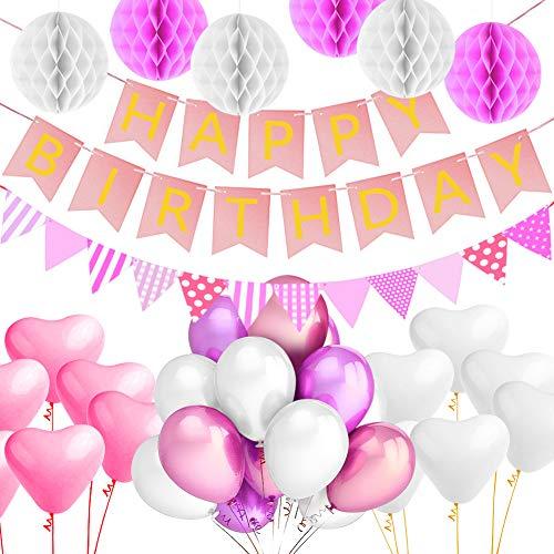 Alintor Party Geburtstag Dekoration, 1 Happy Birthday Banner + 6 Tissue Papier Pom Poms + 40 Latex Ballons + 20 Herz Ballons, für Geburtstag, Hochzeit, Baby Shower, Party, Partyzubehör