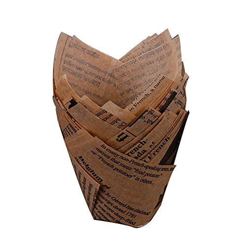 gaeruite v 50PCS - Pirottini in carta per cupcake e muffin, a forma di tulipano, adatti per il forno, con motivo di giornale., marrone, 5 cm