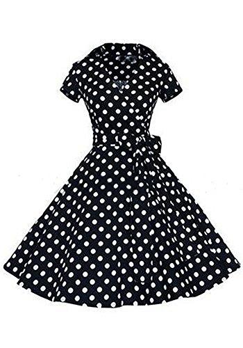 Minetom Damen Vintage 1940er Jahre V-Ausschnitt Kurzarm Schatz Swing Kleid mit Bowknot Partykleid Shirt Kleider Retro Rockabilly Kleid Schwarz Polka Dot DE (Dot Brille Polka)