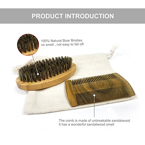 Beard Care Kit - Boar Bristle Brush + Dual Action Sandalwood Comb +