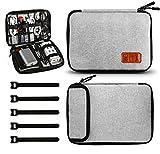 Henmi Tasche Kabel Organizer,Elektronik Zubehör Tasche für Kabel und Flash Disk,USB Stick,Ladegerät,Powerbank,Speicherkarte,Kopfhörer- Grau