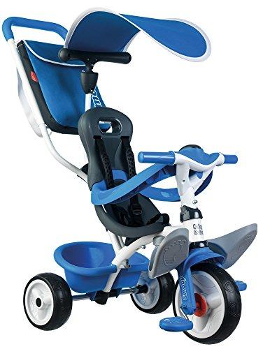 Smoby Toys- 741102- Tricycle Baby Balade 2, Tricycle Evolutif avec roues silencieuses, Dispositif roue libre, Bleu 3032167411020