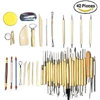 Juego de 42 herramientas para moldeado de esculturas de arcilla o de madera, ideales para aprendizaje