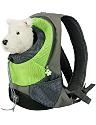 Goodid mochila bolsa bolso hombro para llevar mascotas gatos y perros a salir y viajar con abertura (Verde, 42*29*17cm)