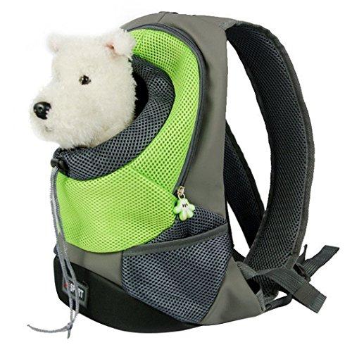 Mochila para gatos, Goodid mochila bolsa bolso hombro para llevar mascotas gatos y perros a salir y viajar con abertura (Verde, 37*26*13cm)
