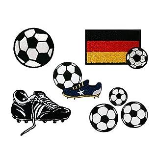 Mono-Quick Fußball Set, 7 teilig, Aufbügler, Aufnäher, Bügelbilder, Patch, Flicken, Bilder zum Aufbügeln