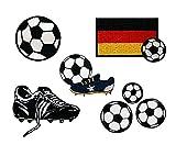 Mono-Quick Bügelbild, Aufbügelbild, Aufnäher, Patch, Applikation, Aufbügelbilder Fußball Set, 5 teilig, Fußballmotive, 2, 0 x 2, 0 cm, bis 7, 5 x 5, 0 cm, Polyester, Stickerei aus Viskosegarn