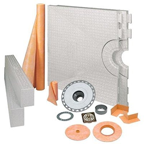 KERDI-SHOWER-KIT - 32 x 60 Tray - Shower Kit - Center Drain - ABS Flange - Brushed Nickel Anodized Aluminum by Schluter Systems