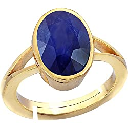 Gemorio Blue Sapphire Neelam 8.3cts or 9.25ratti stone Panchdhatu Adjustable Ring For Men
