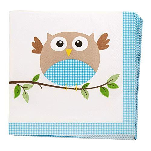 Neviti Little Owls Servietten, Blau