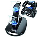 niceEshop(TM) Dual USB Charging Charger Docking Station Stand for PS4 Controller(Black)