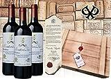 Wein Geschenkset Baron Philippe de Rotschild 'Edition Vintage' Mouton Cadet Bordeaux Retro in edler Vintage-Holzkiste mit Siegelprägung Luxusgeschenk inkl. Urkunde zur Familienhistorie. Das Geschenk zu Weihnachten oder Geburtstag.