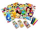 PartyErasers Party Bag Pack of 4 Tsum Tsum Themed 18.2cm x 13cm 8pp Coloring Paper with 5 colour pencils Set