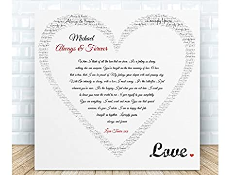 Personalised Romantic Poem Gift - Always & Forever. Ceramic Plaque. Boxed. The perfect sentimental gift for Birthdays, Valentine's Day, Anniversaries, Weddings & Special Occasions. Personalised details