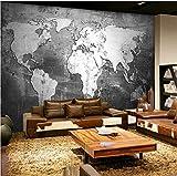 Papel pintado 3D personalizado Mapa del mundo vintage Decoración creativa de la pared Restaurante Sala de estudio Prueba de humedad Papel fotográfico mural 3D Papeles murales 300cm(W) x 200cm(H)