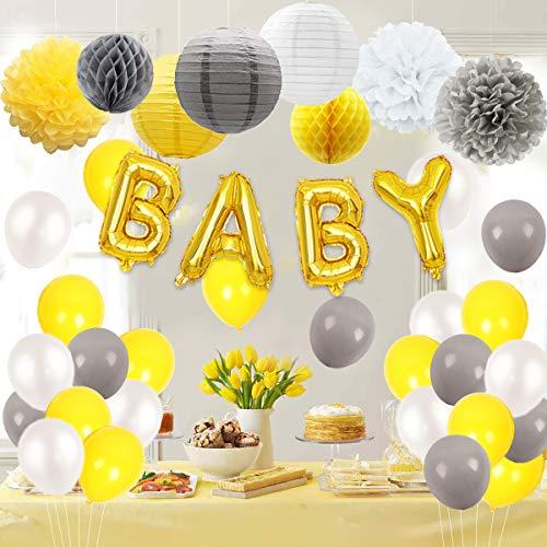 JOYMEMO Baby Shower Dekorationen gelb und grau mit Buchstaben Folienballons, Garland und Seidenpapier Dekorationen