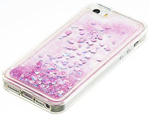 """Iphone 5S Coque Silicone, Iphone SE Case, Iphone 5 Coque, Nnopbeclik® Paillettes Briller Style Backcover Doux Soft """"Transparente"""" Housse (4.0 Pouce) Antichoc Protection Antiglisse Anti-Scratch Etui """"N pink1"""