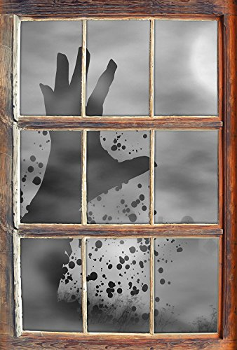 Monocrome, erwachender Zombie Fenster im 3D-Look, Wand- oder Türaufkleber Format: 62x42cm, Wandsticker, Wandtattoo, Wanddekoration