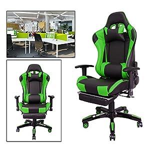 51hWB 491iL. SS300  - HG-Silla-giratoria-de-oficina-Gaming-Chair-Premium-Apoyabrazos-tapizados-Comfort-Racing-Chair-Capacidad-de-carga-200-kg-Altura-ajustable-negro-verde
