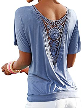 Juleya Blusa Mujer Oversize Encaje Camisa Mujer Camiseta Manga Corta O Cuello Tops Elegante Camisetas de Corte...