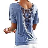 Hibote Damen Bluse Übergröße Spitzen Hemd Frauen Tshirt Elegant Loose Fit Shirt Oberteil Kurzarm O Ausschnitt Tops Blusen Einfarbig Damenshirt