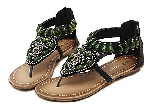 Fortuning's JDS Perlé Bohemia T-strap chaussures de mode de santal pour les femmes Noir