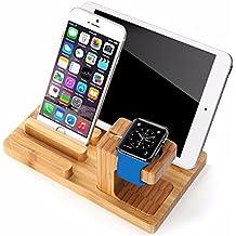 febite multifunción, bambú carga Docking Organizador de Apple Watch Soporte de pie para iWatch 38/42mm iPhone iPad Samsung Smartphones Tablets