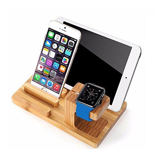FEBITE Apple Watch Stand, madera de bambú escritorio organizador de acoplamiento estación de carga Dock para Apple reloj, iPhone, iPad, Tabletas, Teléfonos inteligentes, Pens