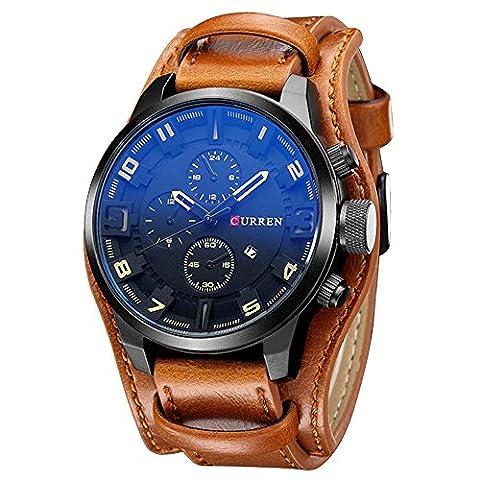 XLORDX Curren Herren Armbanduhr Chronograph Datum Blau Glas Leder Braun Quarz Analog Sportuhr (Sportuhr Herren Blau)